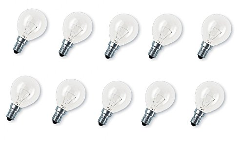 15w Kugel (10 x Glühlampe Glühbirne Tropfen Kugel E14 15W 15 Watt klar 230V Leuchtmittel)