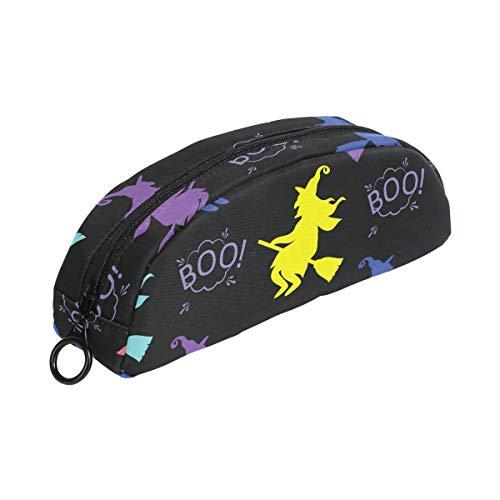 Boo Halloween Hexe bunte Federmäppchen Tasche Reißverschluss klein Make-up Tasche Schreibwaren für Kinder Jungen Mädchen Schule (Make-up Hexe Halloween Niedliche Für)