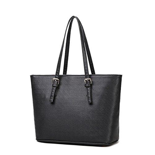 PDFGO Gezeiten-Handtaschen-große Beutel-Schulter-Beutel-Einkaufstasche-Handtaschen-Einkaufstasche Black
