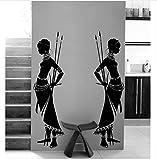 Yangll Housewares Tribal Zwei Afrikanische Frau Wandtattoo Vinyl Wandaufkleber Wohnkultur Wohnzimmer Morden Design Wand Kunst Wandbild, 160 cm Hoch