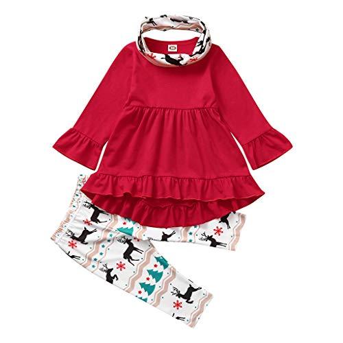 ➤Refill➤Kinderbe Kleidung Set 5 Stück Baby Mädchen Warm Schal + T-Shirt Top + Hose Outfits Set Kleidung Set