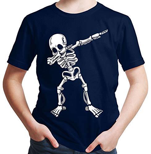t Dab Skelett Dab Teenager Trend Halloween Plus Geschenkkarten Deep Navy Blau 128/7-8 Jahre ()