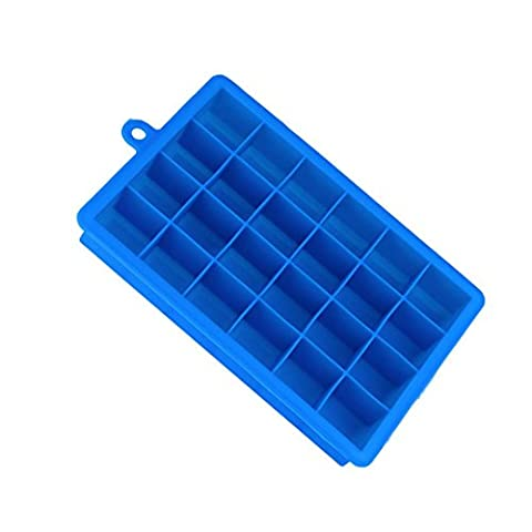 ZycShang 3x3CM Silicone Freeze Mold,fade-resistant coloured,Nice Choice for Bar Pudding Jelly Chocolate Maker Mold 24 Ice Cube (Blue)