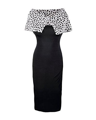 Cruella de Vil Schickes Kleid Kostüm von Emma's Wardrobe – Enthält Schwarzes Cocktail Kleid mit Kunstfellschal und einem Paar Langen Roten Handschuhen – 101 Dalmatiner Cruella de Vil Halloween Kostüm – EU Größen 36