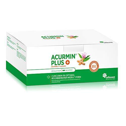 Kurkuma Kapseln hochdosiert von Acurmin PLUS - mizellares Curcumin C14 zertifiziert - ohne Piperin - 360 Kapseln
