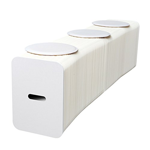 Chi Cheng Fang Electronic business Einfarbiger zusammenklappbarer Stuhl Kreativer tragbarer Papierstuhl wiegt 5000 Gramm pro Quadratmeter mit 3 Kissen (Color : Contains 3 White Pads)