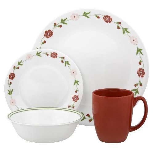 Corelle Geschirr-Set Spring Pink aus Vitrelle-Glas für 4 Personen 16-teilig, Splitter- und bruchfest, rot/pink/grün (Corelle Grün Geschirr)