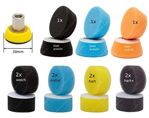 30mm Stützteller passend für Proxxon Winkelpolierer WPE & WPA APS PP30 Klettteller Polierteller + 8 APS Mini Pad + 3 APS Zoom Pads - Die Schwarze Hochglanz-finish