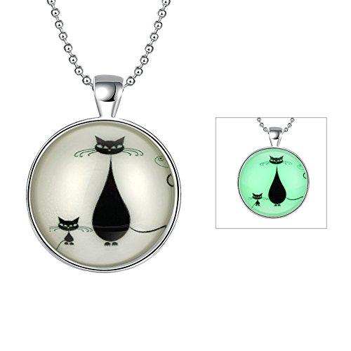te mit Nachtleuchtend Halloween / Weihnachten Geschenk Silber Farbe Nette Katze Anhänger Halskette Kette 60cm ()