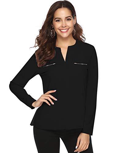 Aibrou Donna Camicetta Chiffon Blusa Elegante Camicia Manica Lunga Scollo V Camicetta Camicia Bavero Elegante Bluse