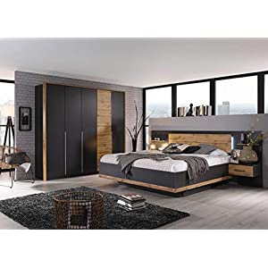 lifestyle4living Schlafzimmer Komplett Set in grau, 4-teilig | Modernes Komplettset mit Drehtürenschrank und Bettanlage inkl. Nachtschränke