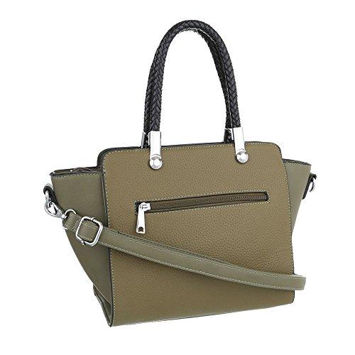 iTal-dEsiGn Damentasche Mittelgroße Schultertasche Handtasche Kunstleder TA-1532-309 Olive