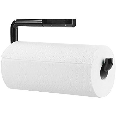 mDesign - Porta rollo de toallitas de papel, para cocina–de pared–Negro