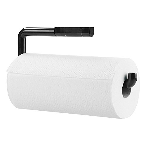 mDesign Portarrollos de papel de cocina fabricado en plástico resistente – Dispensador de papel de cocina para fijar a la pared – Soporte para rollo de papel de cocina – negro
