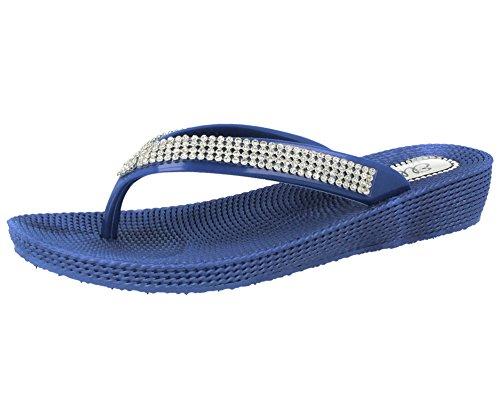 f8ec6fde1 Ladies ELLA S1 Diamante Toe Post Flat Low Wedge Jelly Flip Flop Summer  Sandals Size 3