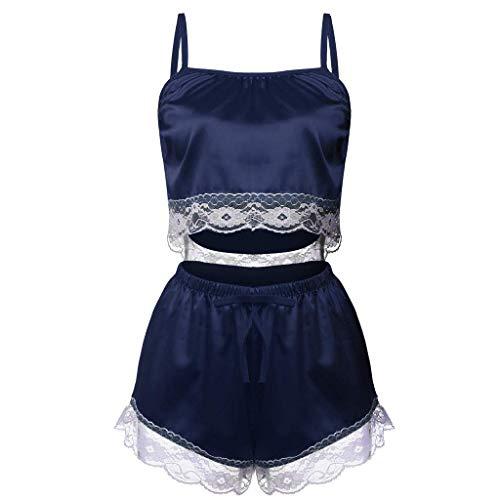 Missoul 2Pc Fashion Sexy Lace Sleepwear Lingerie Temptation Babydoll Underwear Nightdress Women''s Set Nightwear Baby Women Plus Size Soft Bodysuit Nighty Nightgown Nighties (Navy-02) -