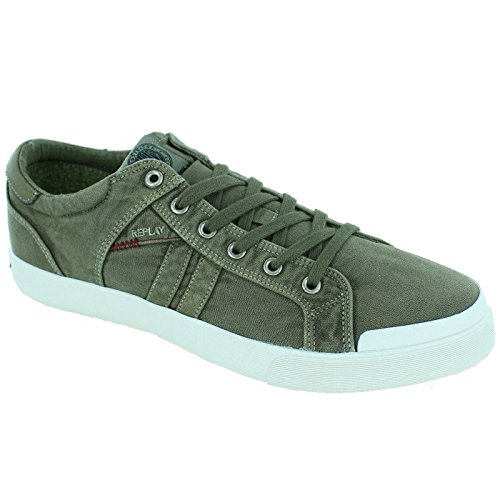 Replay Mens Lampe Textile Trainers Military Green