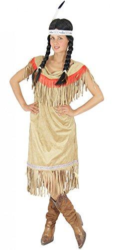 Foxxeo Indianer Kostüm für Damen Indianerin Kleid Indianerkostüm braun beige Damenkostüm Größe XXL