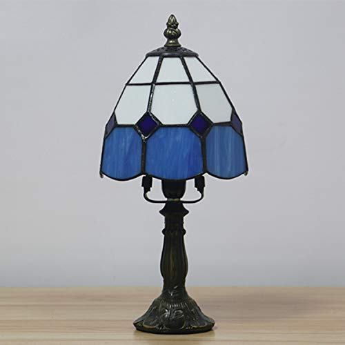 CMES Tiffany Style Table Desk Neben Lampe Tall Sea Blue Stained Glass Shade Crystal Bead Dragonfly Light Antique Resin Base für Wohnzimmer-Schlafzimmer,Blue
