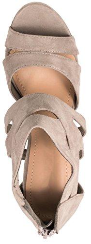 Elara Damen Pumps | Moderne Cut Out Stilettos | Wildlederoptik High Heels Grau