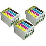 UCI EI T0555 [ 12 tinta = 3 x Set = BMCY ] Compatible tinta cartuchos reemplazo For EPSON Stylus Photo R240, R245, RX420, RX425, RX520, impresora, T0551 - T0554, Black, Cyan, Magenta, Yellow, T0555,