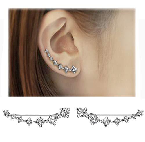 4499e8ca6 Donna Orecchini in Argento 925 con 7 Cristallo Ear Cuff Hoop Climber  ipoallergenico orecchini di Festa