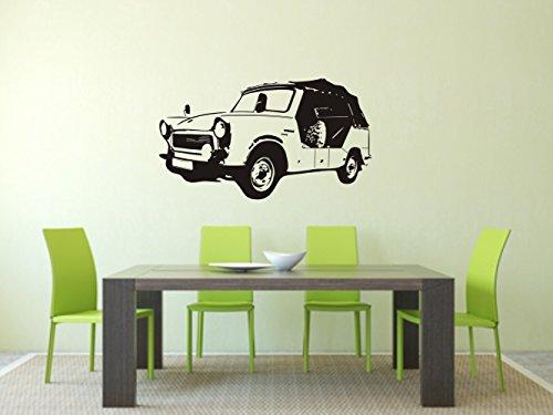 Wandtattoo -Wandaufkleber - Trabant Kübel - Trabi - DDR - Oldtimer - verschiedene Farben und Größen (600 mm x 340 mm, Schwarz)