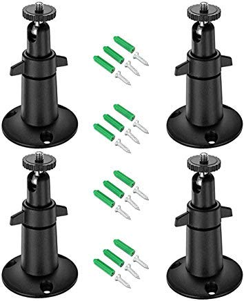 Arlo Mount/Arlo Pro Mount, bfytn Sicherheit Kamera Metall Wand-/Deckenhalterung, Verstellbar Halterung für Arlo, Arlo Pro, CCTV Kamera und Andere kompatible Modelle (Weiß), 4*Black -