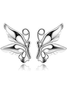 Wunhope Ohrringe Damen Mädchen 925er Sterling Silber Schmetterling Schöne Klein Stecker Hypoallergen