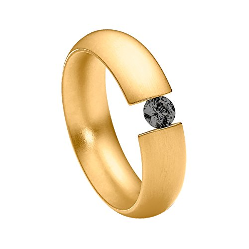 Heideman Ring Damen Intensio aus Edelstahl Gold farbend matt Damenring für Frauen mit Swarovski Stein Zirkonia schwarz im Brillant Schliff 4mm