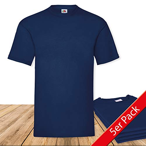 Fruit of the Loom Original  T Rundhals T-Shirt F140 5er Pack- Gr. L, Navy