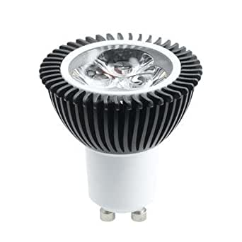 10 x 5W (3X1W) GU10 200-240VAC LED Spot Lamp, Warm White, Equivalent 35W-40W, Dimmable (Trailing Edge Dimmer Switch), Suitable for Spotlights, Downlights and Fire Rated Housings, Total lamp's length = 54mm only; Ampoule LED, l'équivalent de 35-40 watts