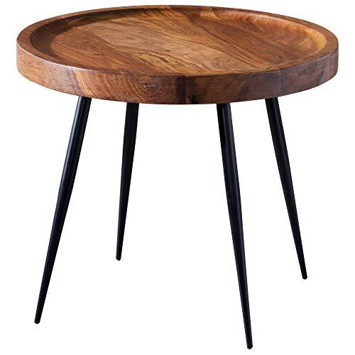FineBuy Table d'appoint Rond 46 x 40 x 46 cm Sheesham Bois Massif métal Table Basse | Style Industriel Bois véritable Table de Salon | Table en Bois Jambes métalliques | Add on Table Table décorative