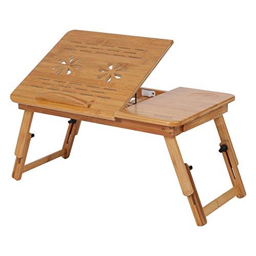 Zerone Cama Bandeja Mesa, 1Pieza Ajustable bambú Rack Estante Dormir kreissaal Cama Escritorio portátil Libro Lectura Compartimento Stehen