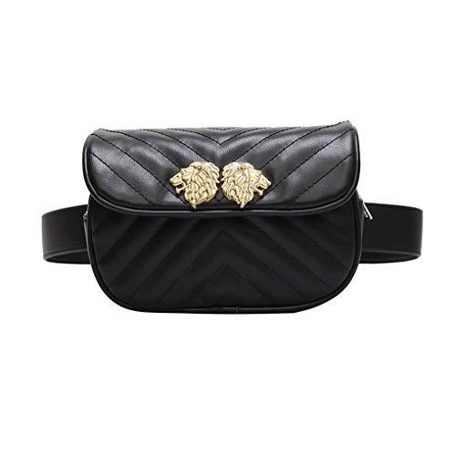 34a5a05b4951 HAOLIEQUAN Casual Women Waist Bag Designer Waist Pack Fanny Packs Retro  Simple Belt Bag Luxury All Match Small Leather Chest Bag,B