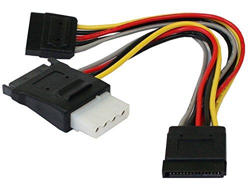 """Preisvergleich Produktbild """"S-ATA Stromkabel 15pol Platinenstecker + 5,25"""""""" 4pin Buchse auf 2x 15pol Stecker, 0,15m, Good Connections®"""""""