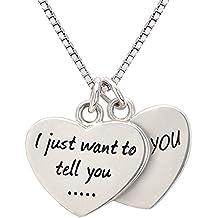 """ALOV joyería de plata esterlina """"Sólo quiero decirte ... te amo"""" collar doble de los corazones para la novia, esposa, madre, abuela, hija y regalos para el día de San Valentín, Navidad"""