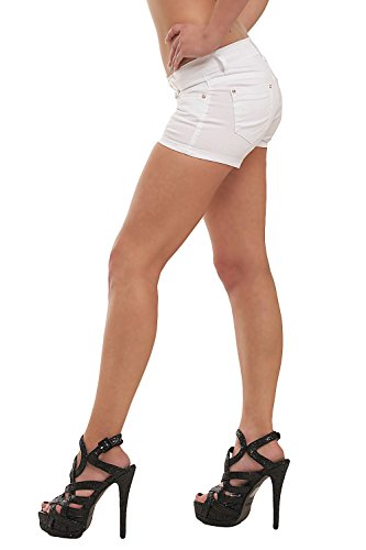 10021 Fashion4Young Damen Sexy Stretch-Denim Hotpants Short kurze Hose verfügbar in 5 Gr. 6 Farben Weiß