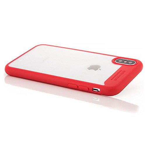 Coque iPhone X - Housse [zanasta] Etui Bumper Protection en TPU Silicone Gel Clair Crystal Cover Transparent-Rouge Transparent-Rouge
