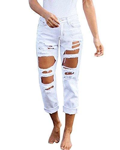 Donna Jeans Denim Strappato Jeans Stretch Alte Vita Boyfriend Matita Pantaloni Bianco