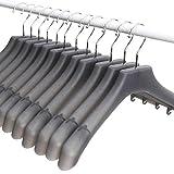 Mr. Siga Kunststoff Kleiderbügel extra breit mit mit Schultern und drehbar Haken, Grau durchscheinend, 12Stück, Breite: 39,5cm