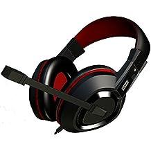 Mars Gaming MAH1 - Cascos gaming con micrófono para PC (altavoces 40 mm, ultrabass, sonido posicional 7.1, omnidireccional, cancelación de ruido, diadema cerrada, USB/jack doble 3.5 mm), negro y rojo