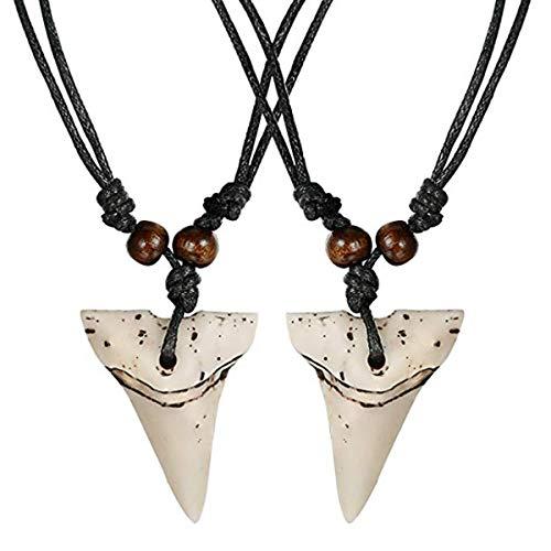 Milacolato Collar de Dientes de tiburón 2pcs Set Collar Hecho a Mano con cordón de algodón Ajustable para Hombres