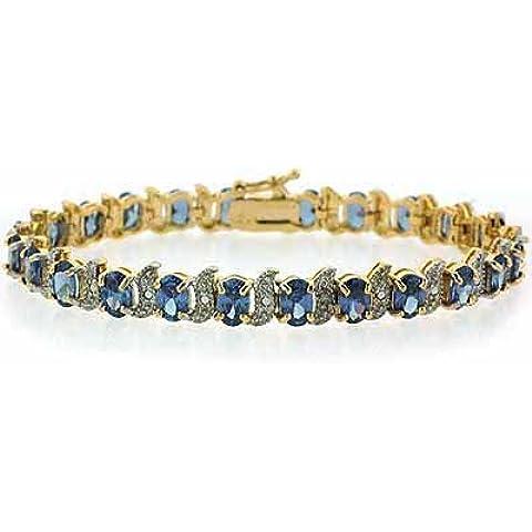In argento Sterling placcato oro 18 kt, con Tanzanite e imitazione diamante Accent Bracciale (Accent Diamante Bracciale)