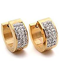 K Mega Jewelry Golden Crystal Stainless Steel Studs Hoop Mens Earrings