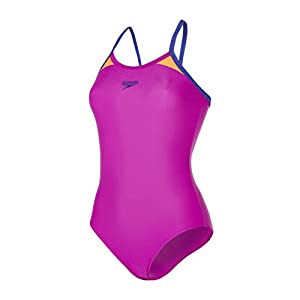 Speedo Women Splice Thin Strap Racerback Swimsuit, Purple (Diva/Ultramarine/Fluo Orange), 12/34 (Manufacturer : 38)
