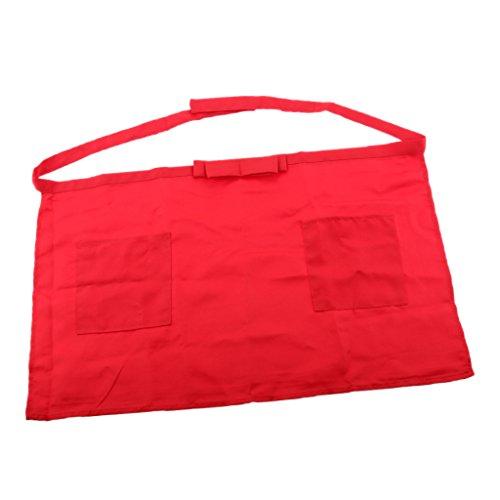 perfk Frauen Küchenschürze Grillschürze Taille Schürze Hüftschürze Kellnerschürze Bistroschürze Gastronomie Berufskleidung - Rot