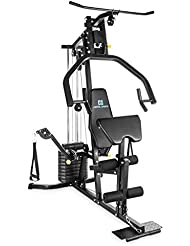 CAPITAL SPORTS Puissantor B15 Multi HomeGym multiestación negra (hasta 45kg en pesas, entrenamiento High y Low Pull, remo, Butterfly, Preacher Curl, Shoulder Press, gimnasio en casa profesional)
