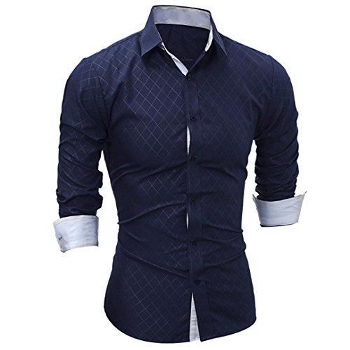 Amlaiworld Sommer-Plaid-Druckhemd Oberseite für Mann, modernes und lustiges langärmliges T-Shirt (L, Marine)