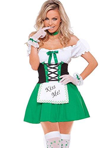 Fortuning's JDS® Damen reizvolles Abend Irland Maid Kleid 3pcs Kostüm